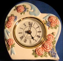 Clock VTG Floral Heart Clock From the Avon Gift Collection ~Quartz~Roses/Flowers - $34.60