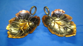 Collectible Dish Coppercraft Guild Decorative Leaf Shape Candy Brass Han... - $29.65