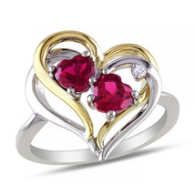 1.03CTW Women's Gorgeous Heart Shape Ruby Ring Two Tone 925 Silver & 14k YG - £56.70 GBP