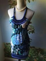 Cache'  Woman's Blue Floral Halter Dress SZ 6 - $34.64