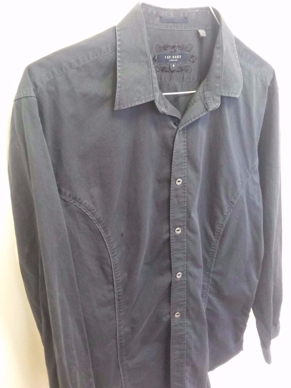 Ted Baker Shirt Size 5 Navy Blue Button Down Long Sleeve