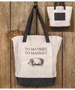 Big Pig Market Shopping Tote Diaper Bag School BookBag Large Pocketbook ... - $33.95