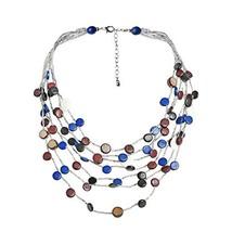 AeraVida Blue Coco Palm Wood Shell Circle Layered Cascade Necklace - $29.36