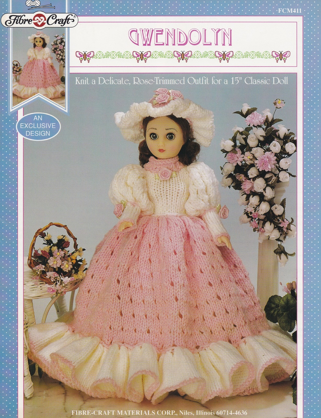 Gwendolyn fibre craft knitting doll clothes pattern for Fibre craft 18 inch doll
