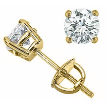 1 Ct Womens Stylish 14 K Solid Yg Round Cut White Sapphire Stud Screwback Earrings - $127.70