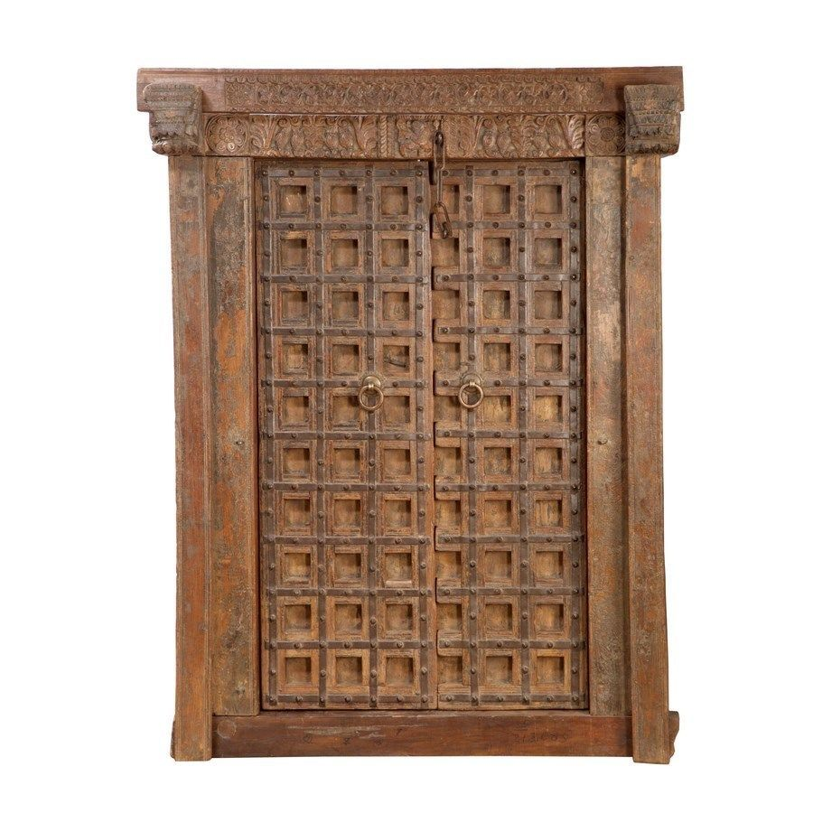 Antique hand carved wood bhutan rustic double door doors for Hand carved wood doors