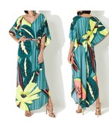 Elegant Tropical Embroidery Button Front Open Long Sleeve Cotton Beach D... - $43.15