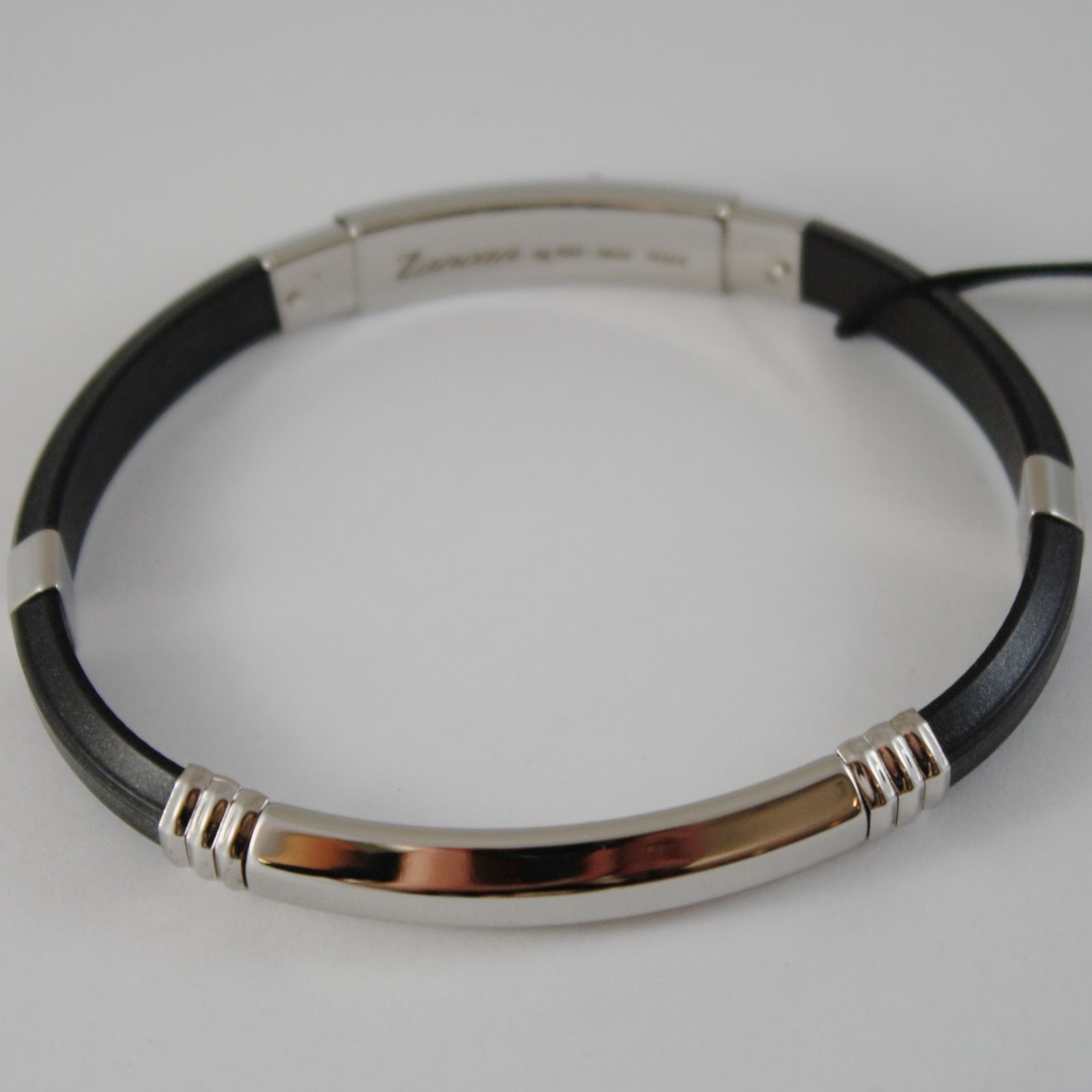 925 SILVER, STAINLESS STEEL PLATE BLACK SILICON BRACELET BY ZANCAN MADE IN ITALY