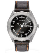 Citizen AW0060-03E Men's Eco Drive Super Titanium Black Dial Leather Ban... - £149.70 GBP