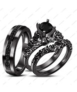 New Design Black Gold Fn Black Cz His Her Bridal Wedding Ring Band Set Free Gift - $155.99