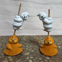 Ceramic Ghosts on Brooms - $11.50