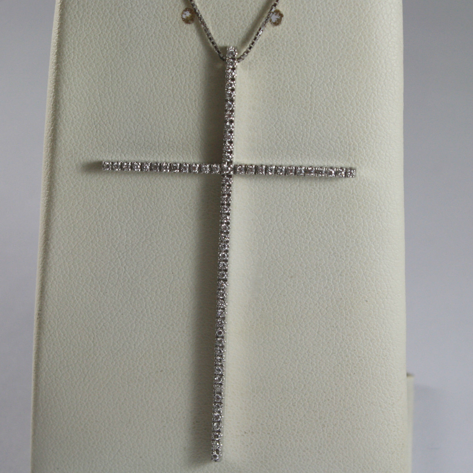 SOLID 18K WHITE GOLD NECKLACE WITH BIG CROSS, DIAMONDS, DIAMOND MADE IN ITALY