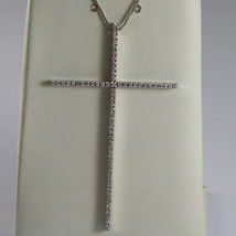 SOLID 18K WHITE GOLD NECKLACE WITH BIG CROSS, DIAMONDS, DIAMOND MADE IN ... - $1,356.60