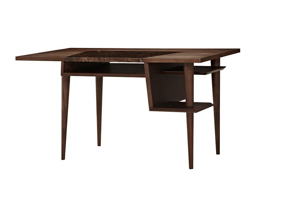J&M Codex Brown Marble Modern Office Desk Chic Contemporary Style