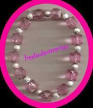 Bracelet Beaded Stretchie Acrylic NEW ~ Pink & Silver - $3.91