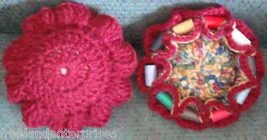 Crocheted Sewing Pin Cushion with Thread Caddy 05 Reversible Maroon - $12.82