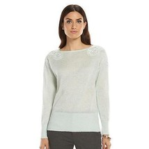 Elle Lace Lurex Boatneck Sweater Women's Size M Moonlight Jade Lt Green ... - $21.04