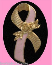 "Breast Cancer Better Breast Care Ribbon Pin Goldtone (approx 2"" large) 1994 - $11.83"