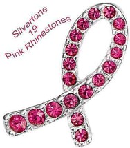 "Breast Cancer Crusade Tac Pin ~ Silvertone & Pink Rhinestones ~ Size 7/8"" X 1/2"" - $8.86"