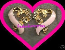 "Breast Cancer Pink Ribbon Earrings CLIP ""3/4 inch x 5/8 inch"" - $19.75"