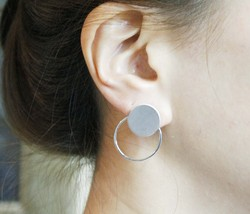 Circles, Bubble Front and Back earrings,Circle Front and Back earrings in 2 colo - $13.50