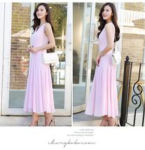 pf079 elegant long chiffon swing dress, high waist,Size s-2xl,light purple - $28.80