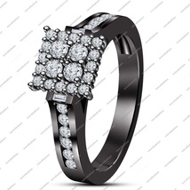 Round Cut White CZ Engagement Wedding Ring 14K Black Gold Plated Pure 925 Silver - $73.09