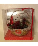 Lace Trimmed Valentine Basket Including Small White Plush Toy Bear and R... - $14.63