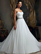 Chiffon Vintage Wedding Dress with Beaded Band - $315.00