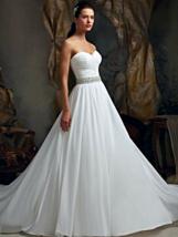 Chiffon Vintage Wedding Dress with Beaded Band - $415.00