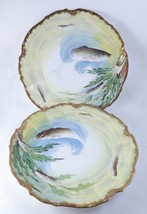 Lot 2 Limoges Fish Plates Victorian Elite Works... - $212.85