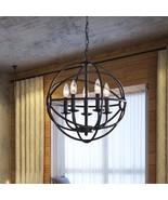Hanging Light Fixture Globe Iron Chandelier Sph... - $186.47
