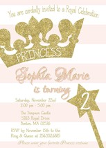 Princess Birthday Baby Shower invitation, Gold, Blush Pink Glitter, Pers... - £0.84 GBP