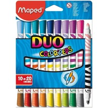 MAPED COLOR'PEPS DUO DOUBLE ENDED FELT TIP PENS PACK OF 10 PENS = 20 COL... - ₹467.22 INR
