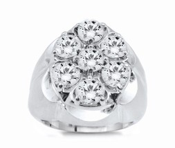 14k White Gold Men's Diamond Pinky Ring 3.00ct With Satin Finish - $2,023.00