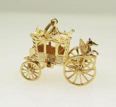 14k Yellow Gold Antique 3D Royal Coach Vintage Charm - $559.00