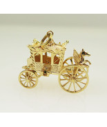 14k Yellow Gold Antique 3D Royal Coach Vintage Charm - $559.00