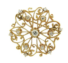 14k Yellow Gold  Antique Brooch Pin With Intricate Filigree Design & Dia... - $925.00