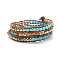 Turquoise & Sand Multicolored Semi-Precious Stone Bead On Authentic Leather - $14.21