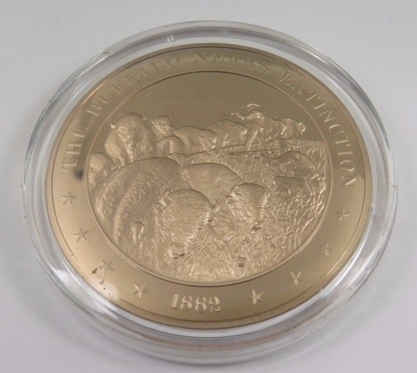 Primary image for 1882 The Buffalo Nears Extinction Franklin Mint Solid Bronze Coin American Hist