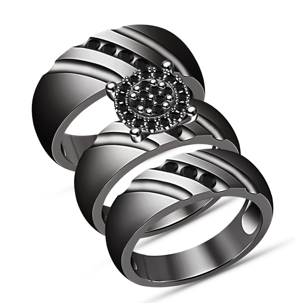 10K Black Gold Over His Her Men Women Trio Diamond Ring Set Wedding Bridal Band
