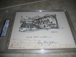 Lady Bird Johnson 1st Lady Signed 5.5x7.5 Card Letter LBJ Ranch Graded M... - $179.99