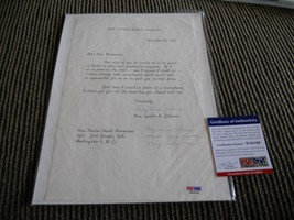 Lady Bird Johnson 1st Lady Signed Autographed Letter W/ Message PSA Cert... - $199.99