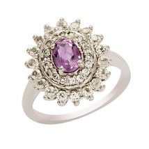 Solid 925 Sterling Silver With 7X5 MM Oval Amethyst And White Topaz Ring US 8 - $21.96