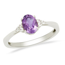 Solid 925 Sterling Silver Oval Amethyst Gemstone Jewelry Ring Sz 7 SHRI0169 - $13.64
