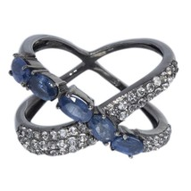 Faceted Sapphire Gemstone With Black Rhodium Sterling Silver Ring Sz 7 S... - $22.72