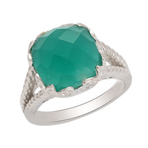 Shine Jewel 12 MM Green Onyx 925 Sterling Silver Jewelry Ring SZ 8 SHRI0280 - $22.96