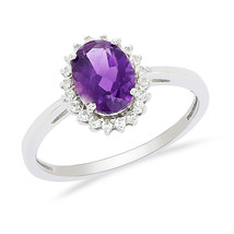 Trendy Solid 925 Sterling Silver Amethyst Gemstone Jewelry Ring Sz 7 SHR... - $23.80