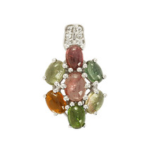 Multi Tourmaline Gemstone Solid 925 Sterling Silver Pendant Jewelry SHPN0172 - $28.14