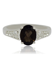 Smoky Quartz White Topaz Gemstone 925 Sterling Silver Jewelry Ring Sz 6 ... - £12.76 GBP